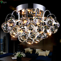 Modern Luxury Lustre De K9 Crystal Foyer Led Ceiling Lamp Bedroom Porch Simple Plate Chrome Gold