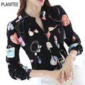Newest Spring v Neck Long Sleeved Women's Blouses Printed Office Ladies Chiffon Shirts All Match Blusas Femininas 2017 e Camisas