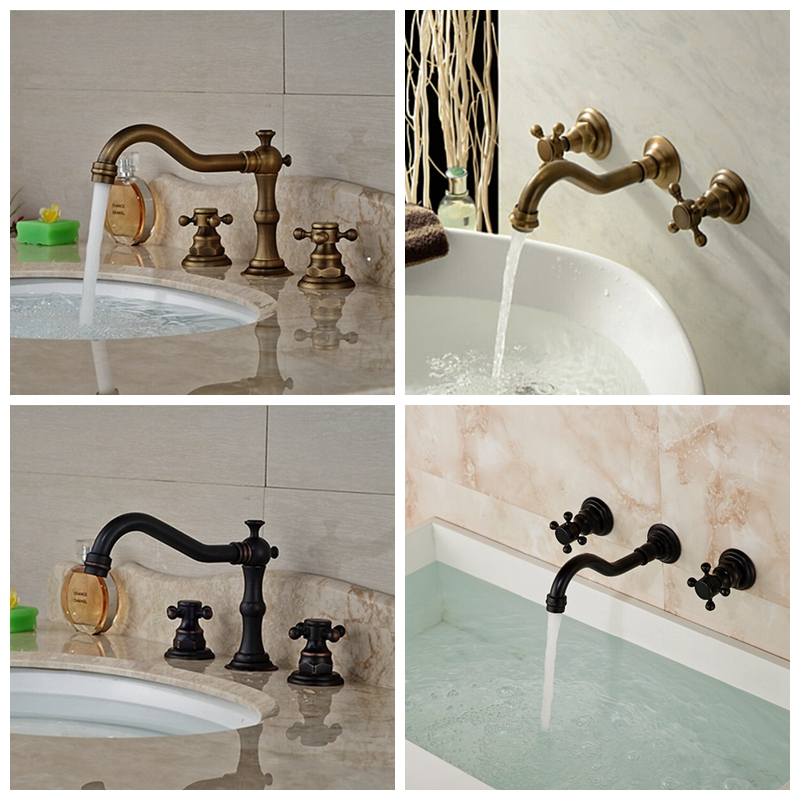 Widespread Solid Brass Bathroom Basin Faucet 8 Sink Vanity Mixer Tap Tub Tap