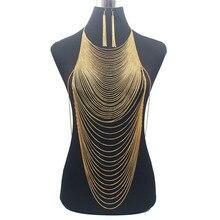 高級ファッション光沢のあるセクシーなボディベリーゴールドシルバーカラーのフルチェーンボディチェーンブラジャースレーブハーネスネックレスタッセルウエストジュエリー