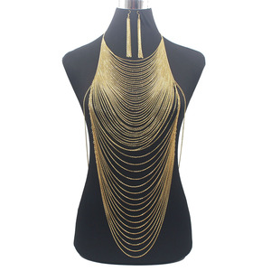 Image 1 - Luxury Fashion Shiny Sexy Body Belly  Gold Silver Color Full chain Body Chain Bra Slave Harness Necklace Tassel Waist Jewelry