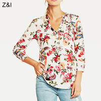 Womens Brief Red Flower Printed Blouse Ladies Casual 3 4 Sleeve V Neck Chiffon Shirts Tops
