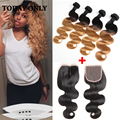 Queen hair onda do corpo brasileiro 4 pacotes com fecho brasileira loira onda do corpo do cabelo virgem ombre cabelo brasileiro com fecho