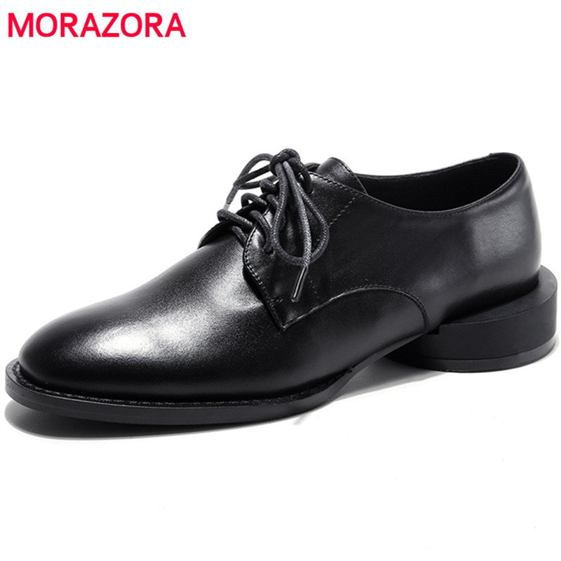 MORAZORA Two colors cow leather shoes woman fashion popular women pumps lace-up in spring autumn low heels shoes size 34-40 europe america style spring autumn women genuine leather thin high heel lace up low cut fashion denim shoes size 34 41 sxq0709