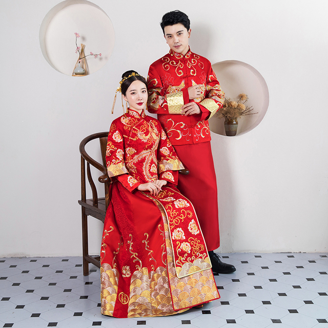 0be0299fc8 Vintage Bride&bridegroom Wedding Party Dress Suit Chinese Traditional  Marriage Tang Suit Classic Cheongsam Men+Women