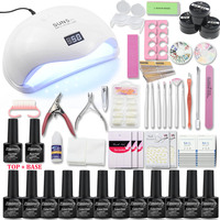 Nail Set with UV Lamp 48/54/72W All For Manicure Pedicure Tools Kit 12 Color Nail Gel Nail Set with Top&Base coat