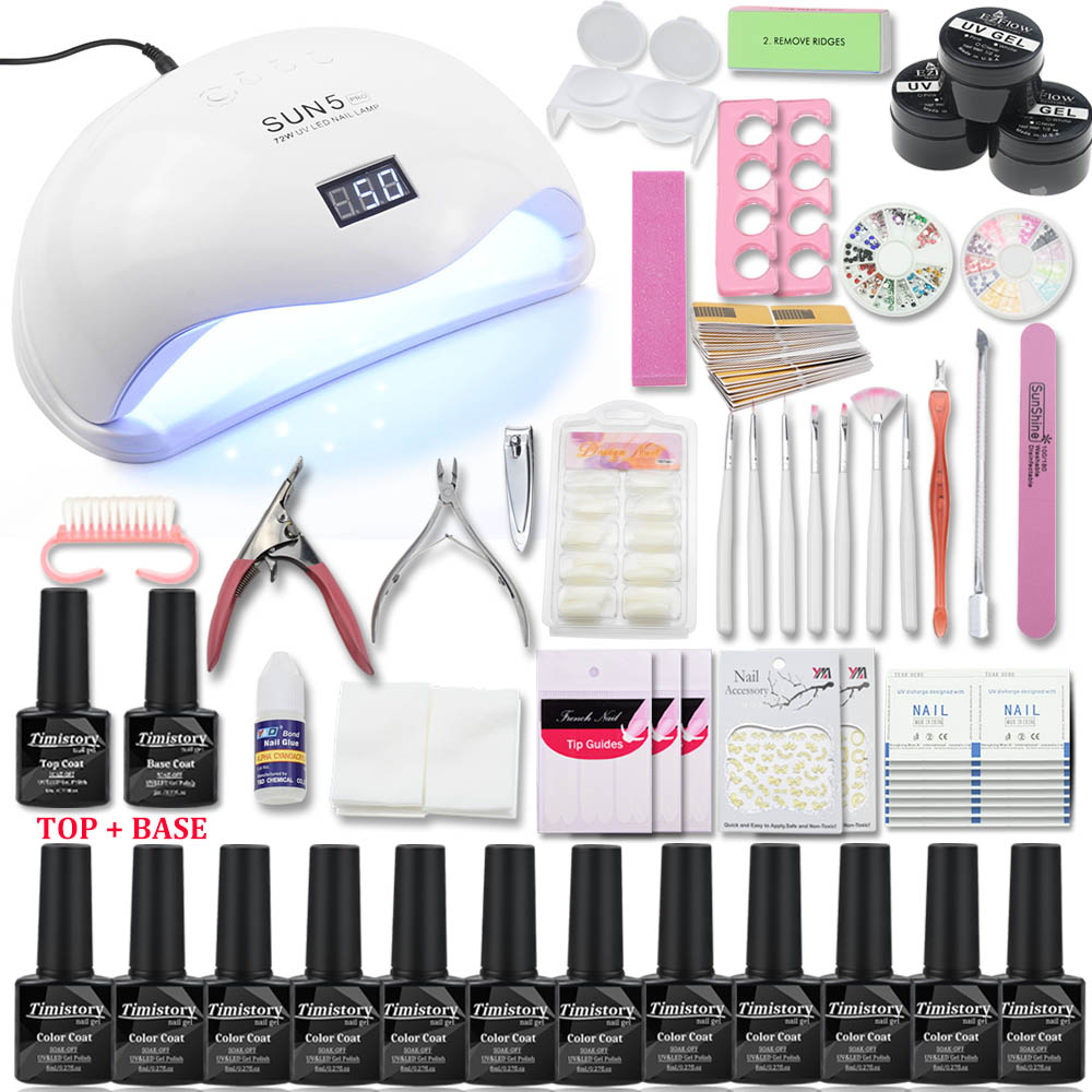 Nail Set with UV Lamp 48/54/72W All For Manicure Pedicure Tools Kit 12 Color Nail Gel Nail Set with Top&Base coatNail Set with UV Lamp 48/54/72W All For Manicure Pedicure Tools Kit 12 Color Nail Gel Nail Set with Top&Base coat
