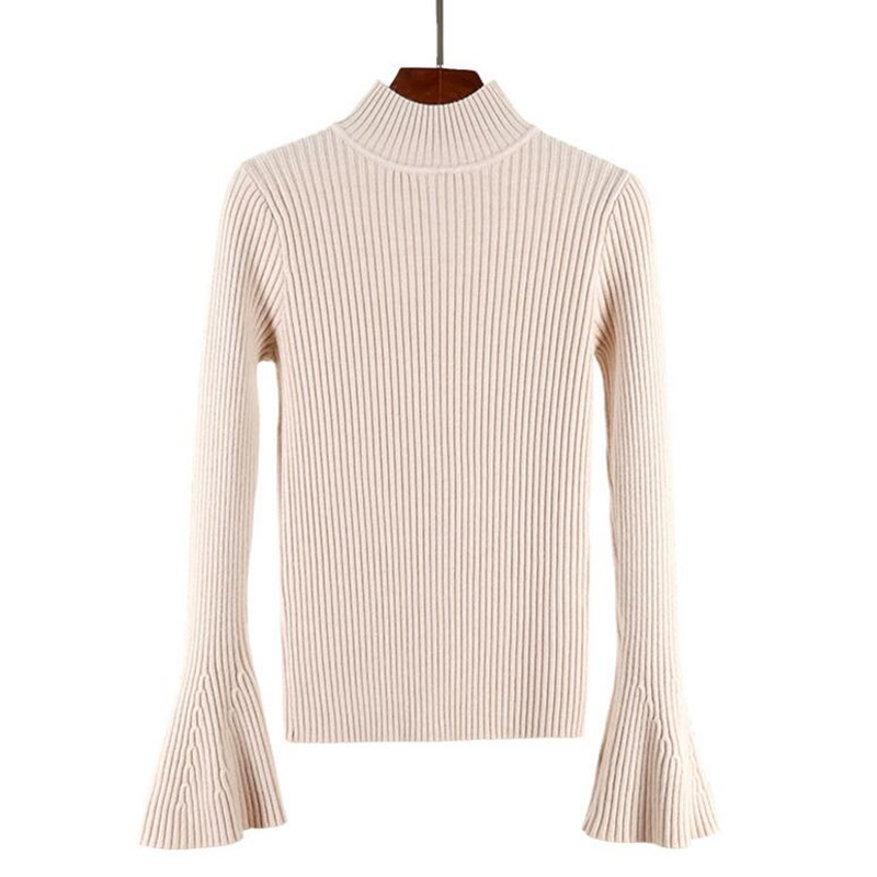 Sweater women winter new sweater Korean version of the half-neck collar horn sleeve thick Slim warm jacket large size sweaters
