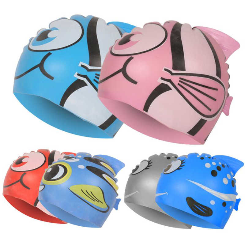 New Kids Children Waterproof Swim Cap Cartoon Animal Swimming Pool Beach Silicone Caps Hat Protect Ears Long Hair For Boys Girls