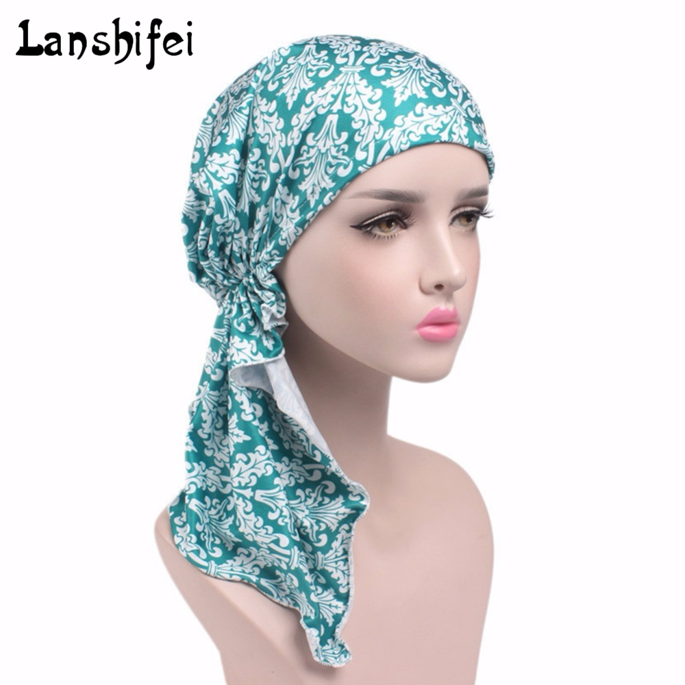 New arrival 6 Colors Muslim Turban Cap women printing elastic Cap Scarf & Winter Hats for Women   Skullies   girls Gorros   Beanies