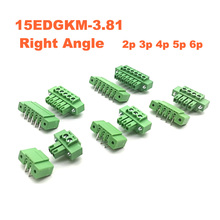5pcs Pitch 3.81mm Right Angle 2 3 4 5 6P Screw Plug-in PCB Terminal Block Pluggable Connector male/female 15EDGKM+RM morsettiera стоимость