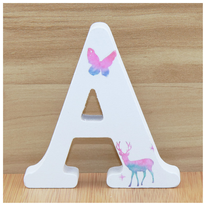 1pc 10X10cm Deer Shape Wedding Home Wooden Letters Decorative Alphabet Word Letter Wood Letters Name Party Art Crafts  DIY