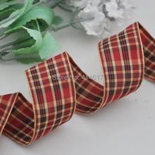 Upick 1 25mm Wine Tartan Plaid Ribbon Bows Appliques Sewing Crafts 10Y
