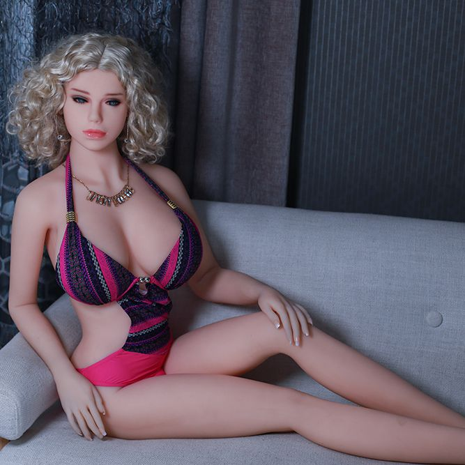 Pinklove <font><b>Sex</b></font> <font><b>Dolls</b></font> 165cm Real Silicone <font><b>Realistic</b></font> Sexy <font><b>Female</b></font> Mannequin Beautiful golden wig blue eyes image