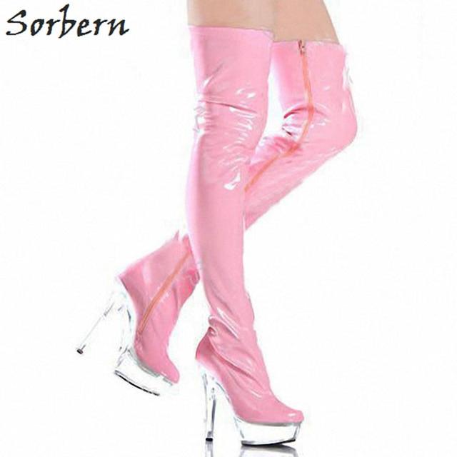 Sorbern Sexy Bdsm Over The Knee Women'S Thigh Boots Clear Plastic High Heels Pvc Boots Women High Heels Night Club Boots Long