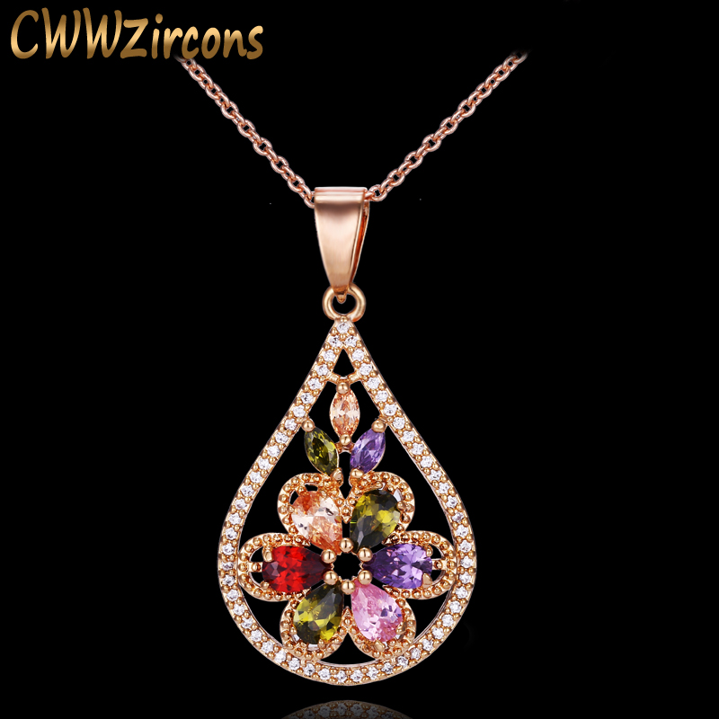 be152a28 CWWZircons de moda de oro amarillo Color CZ Stone Pave de lujo Multi Color  cristal flor grande gota ...