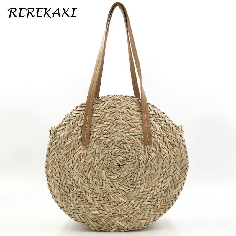 <font><b>REREKAXI</b></font> Handmade Round Women's Handbag Bohemian Large Capacity Straw Bag Summer Woven Beach Bags Female Shoulder Bag Tote image