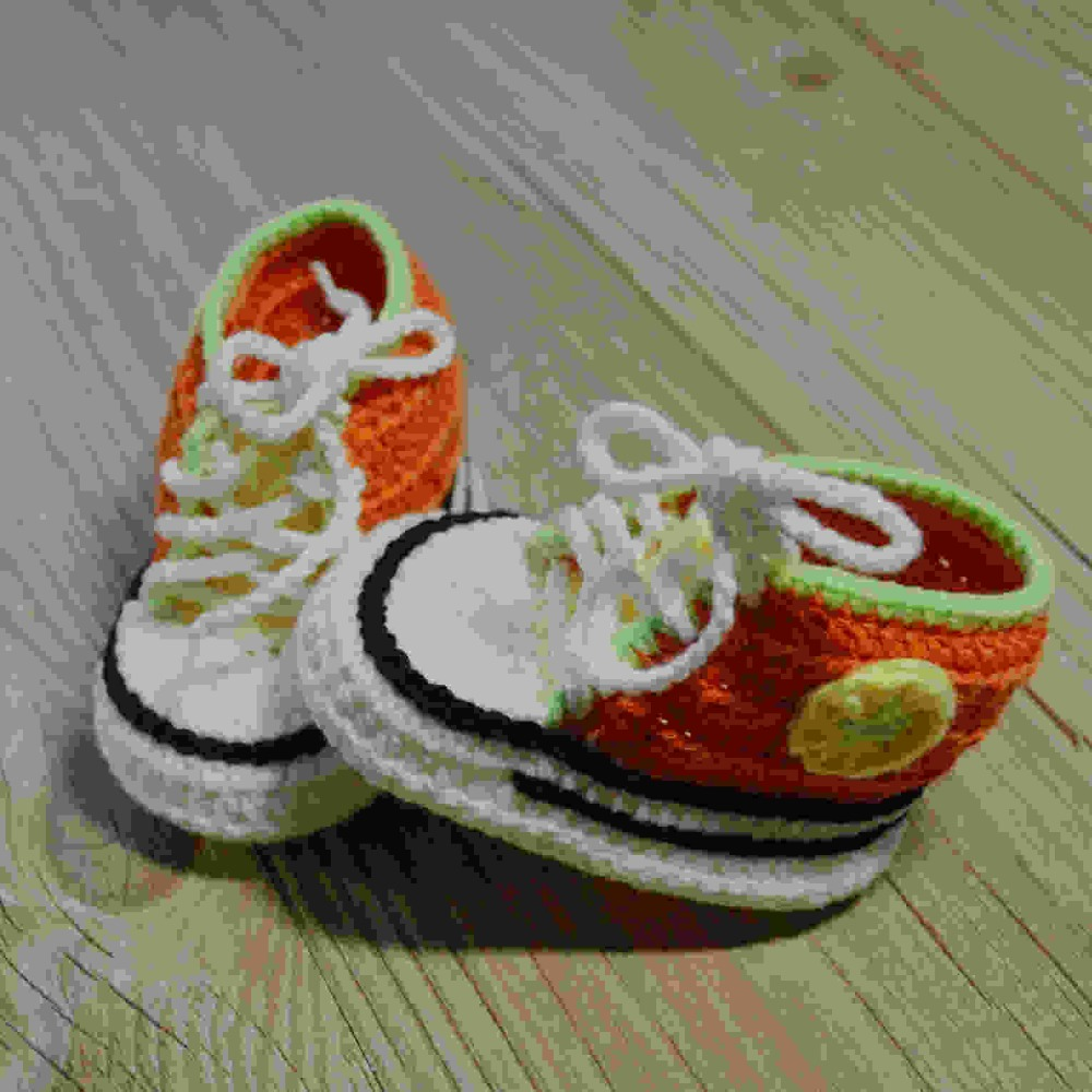 QYFLYXUEQYFLYXUE-Free Shipping, Crochet Baby Handmade Sports Shoes Knit Infant Booties 100% Cotton 0-12M Photo Props
