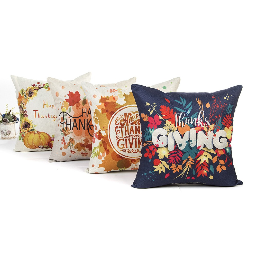 Colorful Flower Printed Cushions Covers with Word Linen Cotton Plant Throw Pillow Covers Home Decor Pillowcases for Sofa Couch