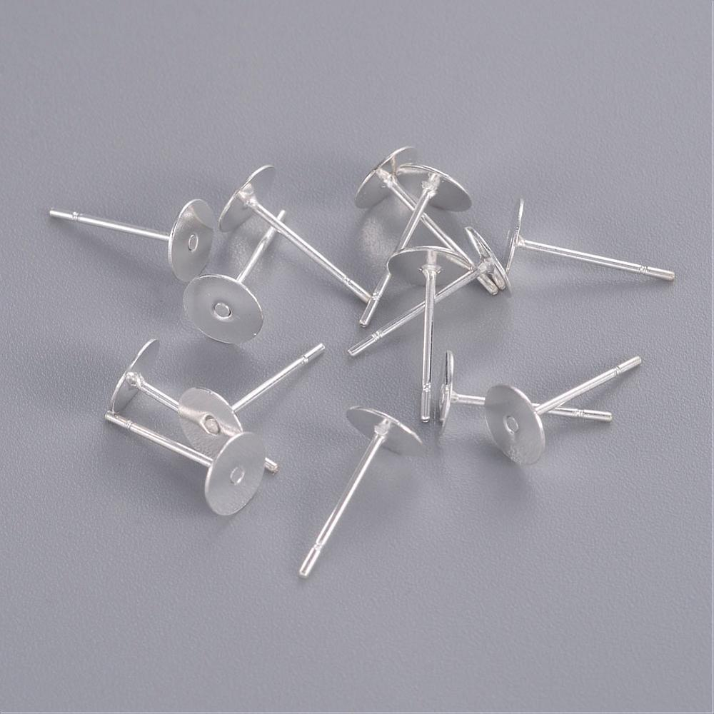 2000pcs Tray: 6mm Ear Stud Components Findings Lead Free Cadmium Free Brass Head and Stainless Steel Pin,Pin: 10mm