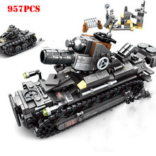 4 IN1 World War 2 Military Tank Panzer Vehicle Building Blocks Compatible Legoing WW2 Soviet Army Weapon Brick Children Toy Gift(China)