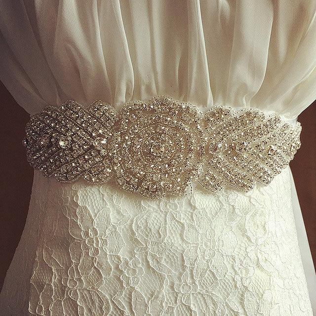 2016 Women Luxurious Floral New Crystal Rhinestone Wedding Dress Belt Cummerbunds Waistband Girdle Headband Wedding Accessories