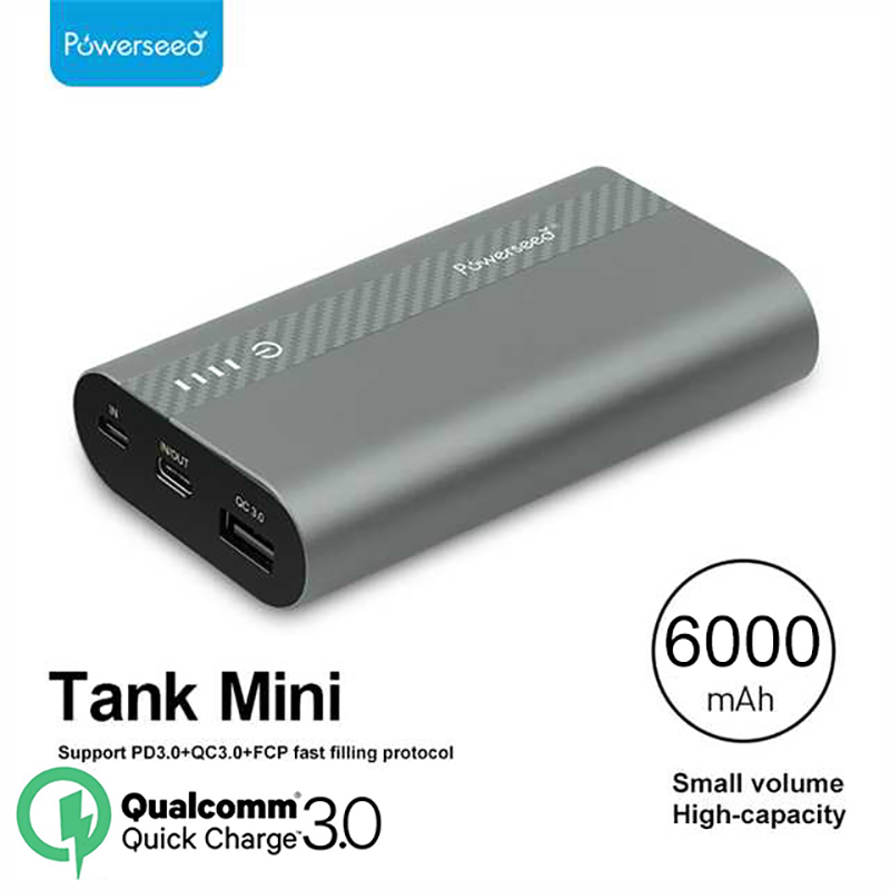 Powerseed QC3.0 Dual USB Power Bank 6000mAh Portable External Batteries Charger Travel With LED Light Universal Charger