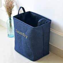 Large Laundry Basket Denim Fabric 40*36*26 cm Thicken Foldable Storage Basket For Toy Organizer Hanging Storage Bucket