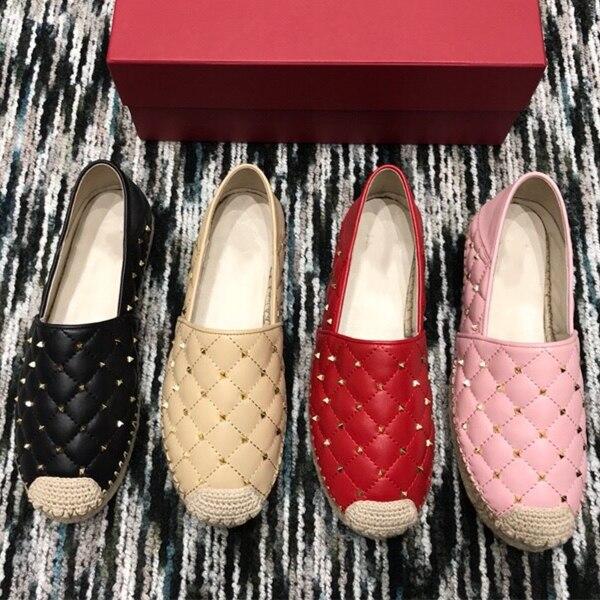 Véritable Cuir Femmes Espadrilles Chaussures Rivets livraison directe Mode Saisons Femmes Mocassins Chaussures 35-41 Femmes Plat chaussures décontractées