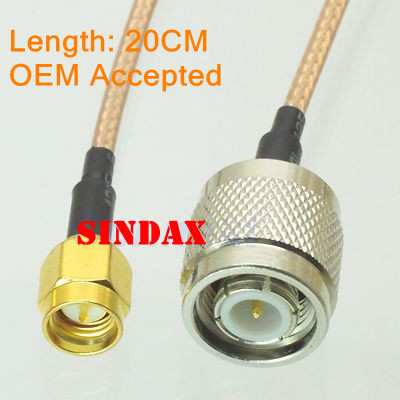 Sindax NEW TNC male to SMA male straight crimp RG316 cable jumper pigtail 20cm Drop Shipping