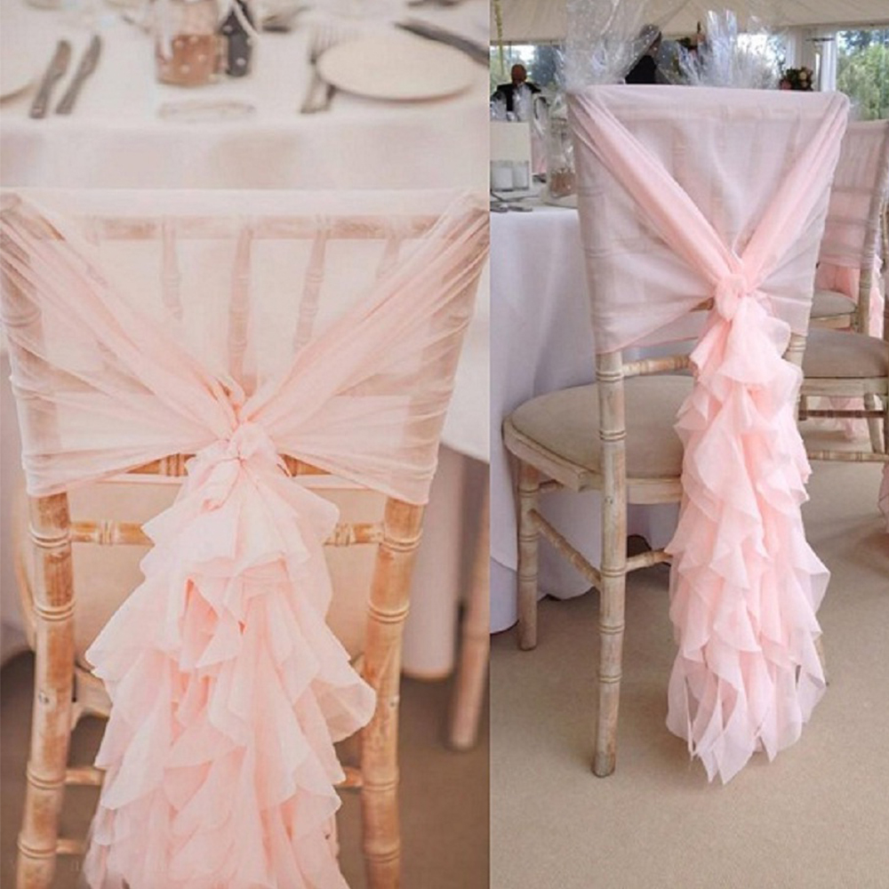 275cm Chiffon chair sash wedding birthday party home party DIY decoration chair sash colorful chair decoration for party
