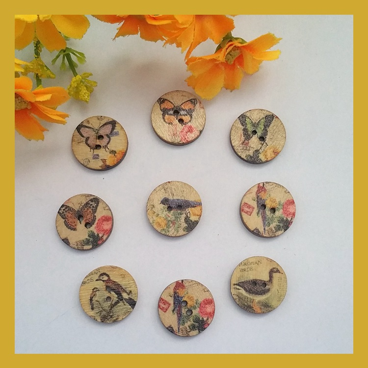 New 120pcs mixed natural wooden decorative buttons for for Decorative pins for crafts