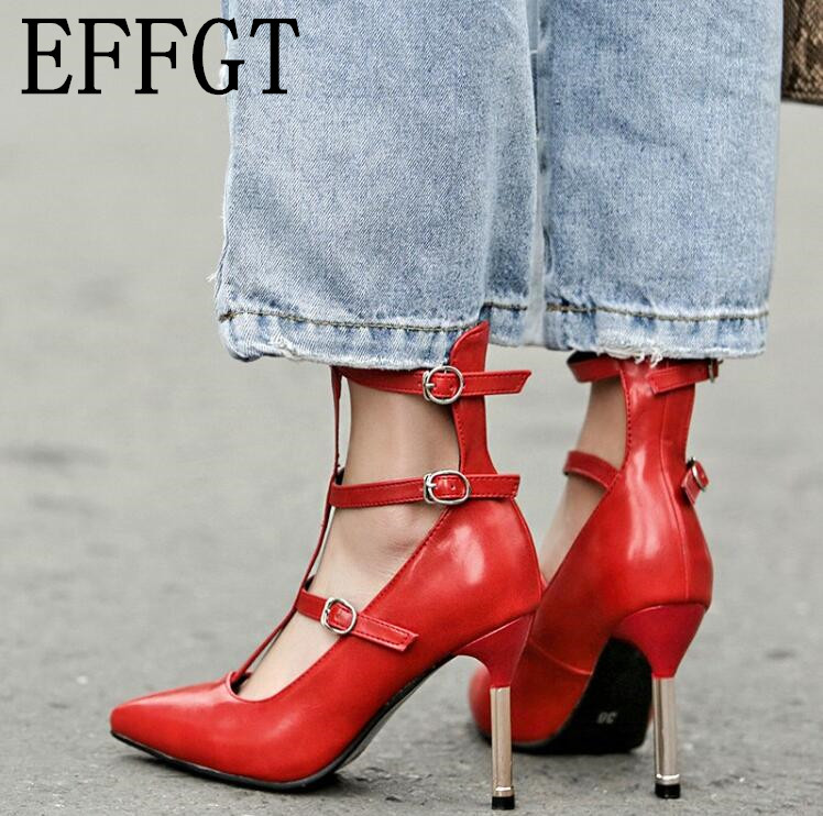 EFFGT Women Shoes Japanese High-Heeled Pointed Roman Korean Fashion Casual Stylish Buckle