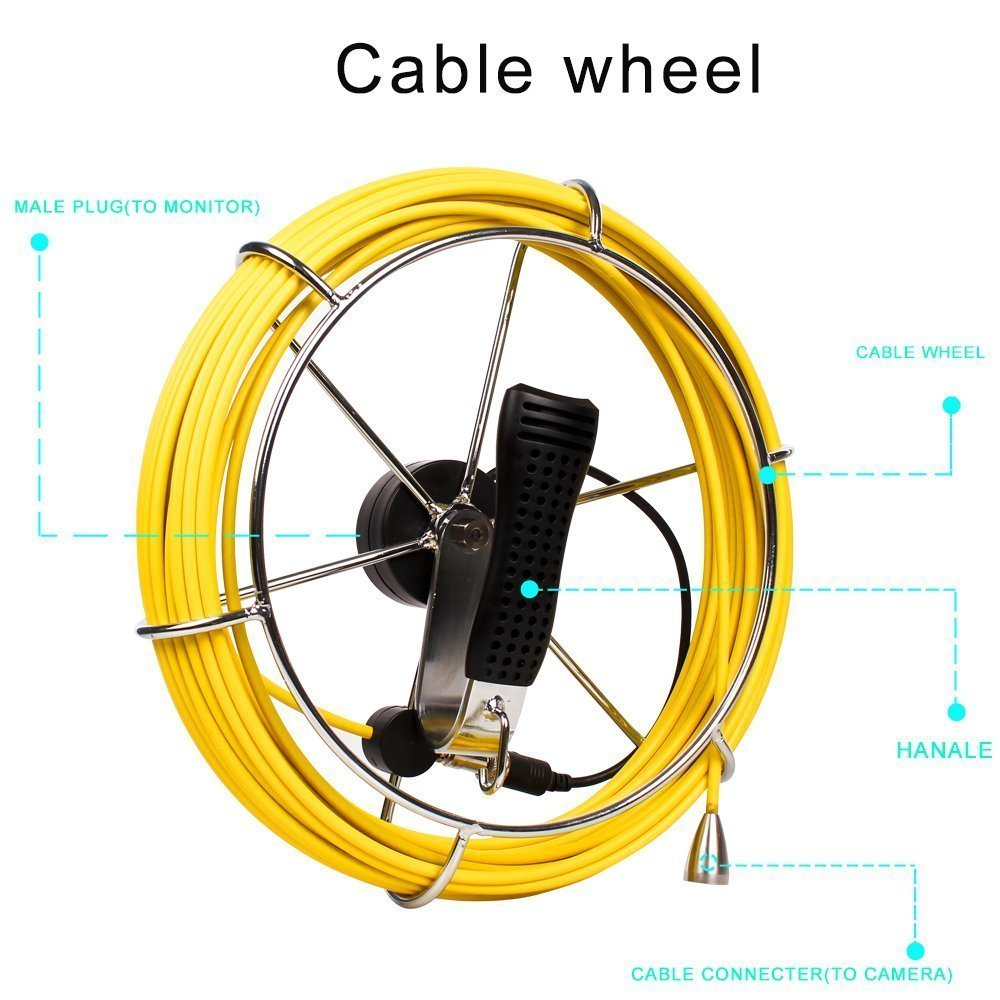 Pipe Sewer Inspection Camera Waterproof IP68 30M Drain Industrial Endoscope Video CCD DVR Recorder Video Snake Camera cable|360° Video Camera|   - title=