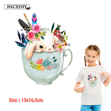 Nicediy Ironing Transfers Patches Heat Press Stickers For Girl Lovely Rabbit Patch Appliques Kids Thermal Washable