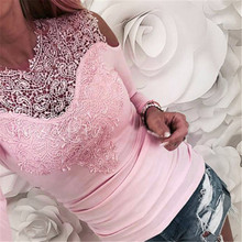 Sweet Lace T-Shirt Women Off The Shoulder Pink Slim Fit Tees Ladies