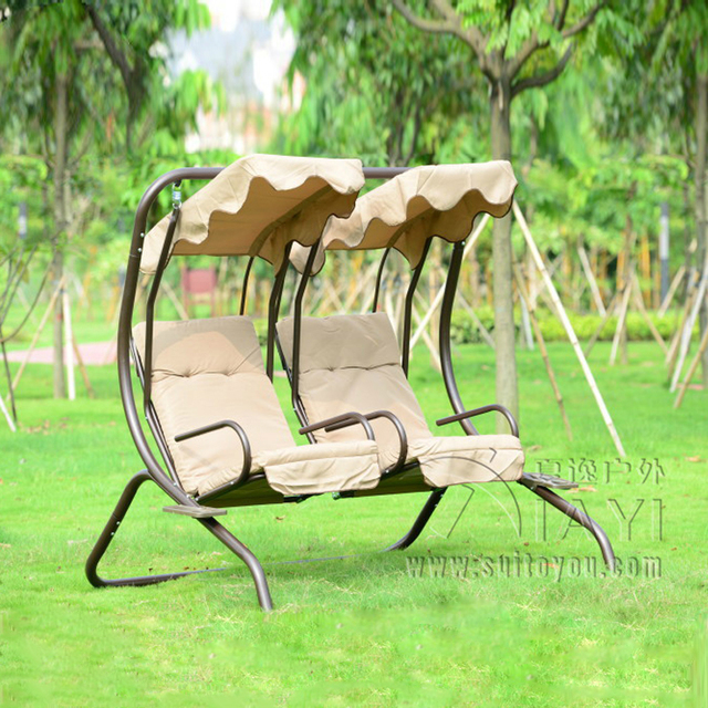 Love seats durable iron garden swing chair hammock outdoor furniture sling  cover bench khaki - Love Seats Durable Iron Garden Swing Chair Hammock Outdoor Furniture