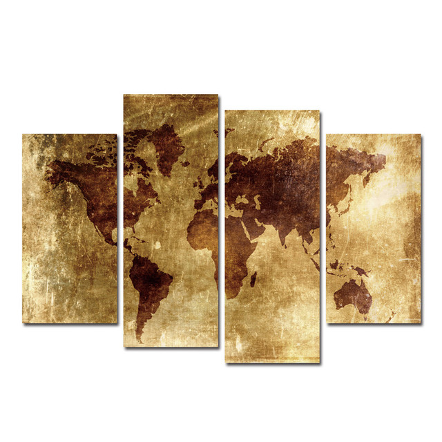Poster map canvas painting 4pcs world map painting on canvas cuadros poster map canvas painting 4pcs world map painting on canvas cuadros decoracion wall painting art wall gumiabroncs Choice Image