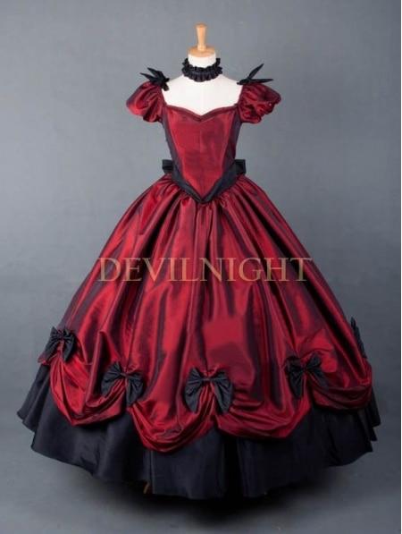 Красное платье принцессы готический, викторианской эпохи платье/Свадебное платье, одежда для вечеринок - Цвет: color