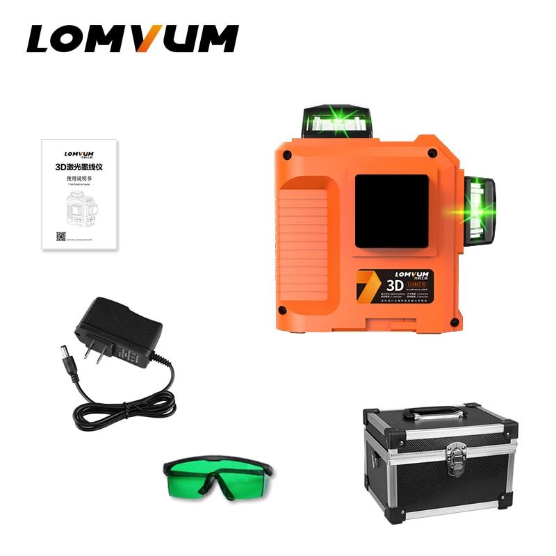 LOMVUM Laser Level 12lines 3D 360 degree laser line leveling green red  line precise Adjustment Indooroutdoor Laser Level-in Laser Levels from Tools    1