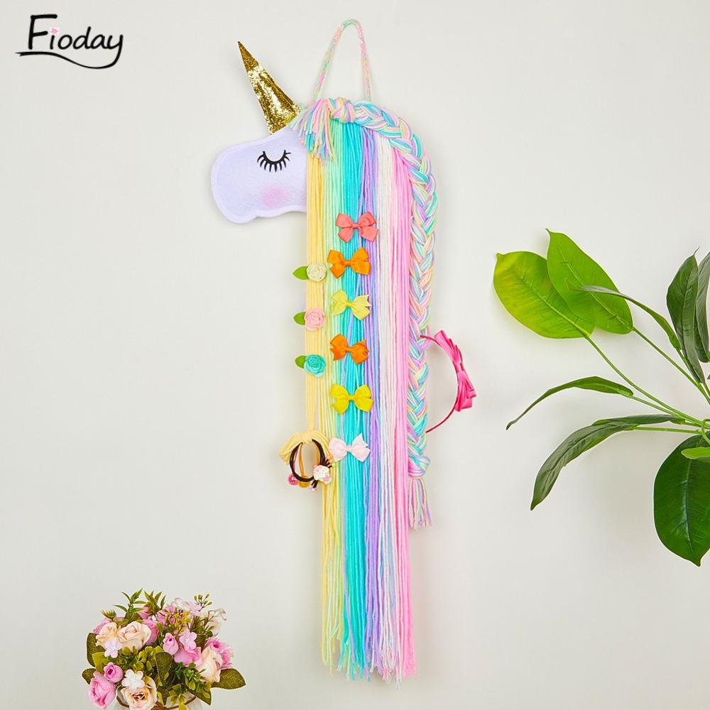 Fioday Unicorn Hair Bows Storage Belt For Girls Hair Clips Barrette Hairband Hanging Organizer Strip Holder For Hair Accessories