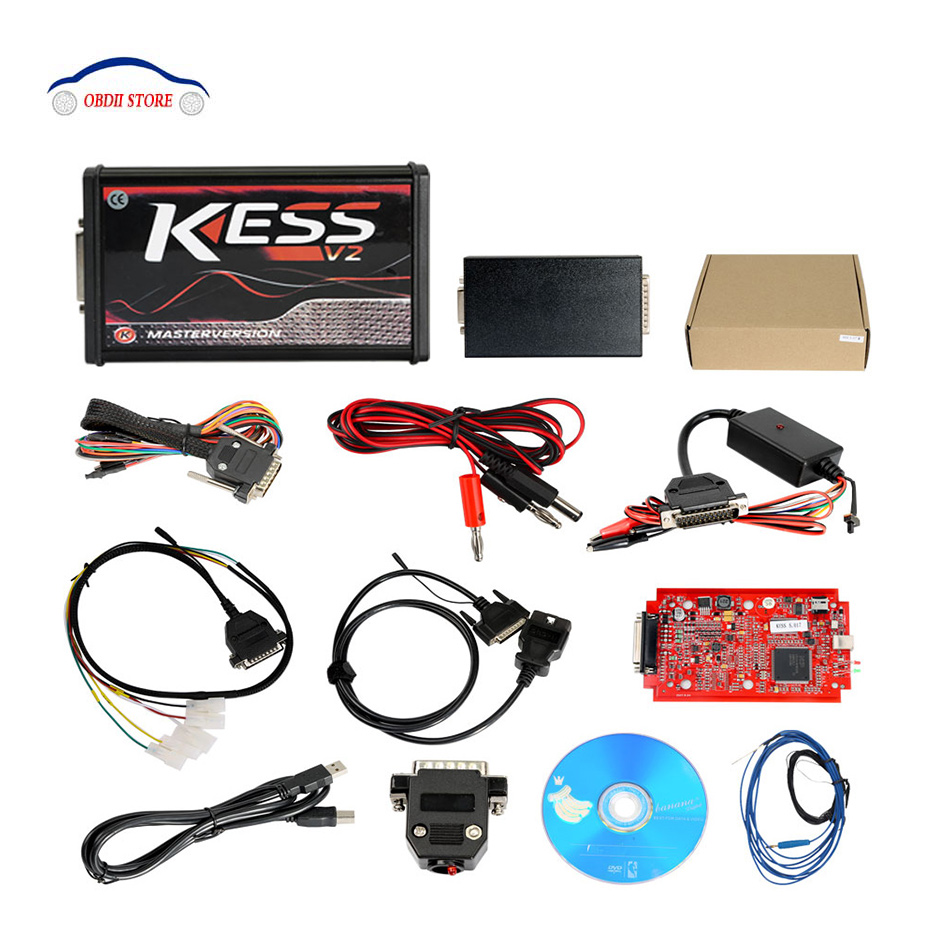 Red PCB Kess V2 V5.017 Online Version No Tokens Limitation Kess V2 V2.23 OBD2 Manager Tuning Kit Car Truck ECU Programmer цены