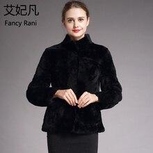 Натуральный Мех Натуральная Дубленка черная Для женщин Зимняя мода Шерстяное пальто женские теплые стрижки овец куртка воротник-стойка покровной шерстью