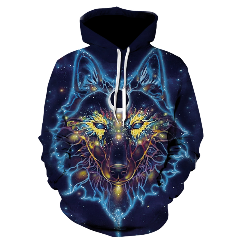 Space Galaxy Wolf Hoodie Hoodies Men Women 2018 New Fashion Spring Autumn Pullover Sweatshirts Sweat Homme 3D Tracksuit