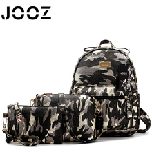 JOOZ Brand PU Leather Women Handbag 3 Pcs Composite Bags Camouflage Female Shoulder Crossbody Bag Lady Coin Purse Clutch Wallet