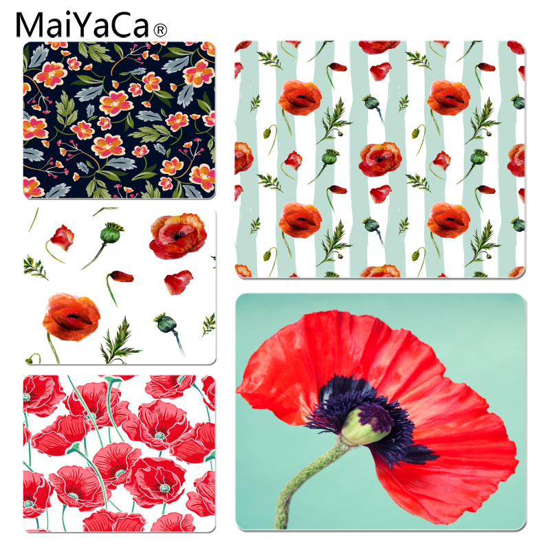 MaiYaCa Poppy Flowers Red Square High Speed New Mousepad Size for 25X29cm Gaming Mousepads