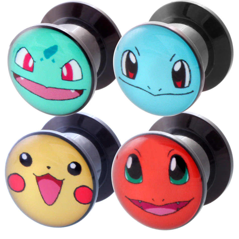 1 Pair Unisex 6-25mm Ear Stretcher Acrylic Pokemon Ear Plugs Tunnel Piercings Earring Gauges Plugs Flare Flesh Stretcher Plugs