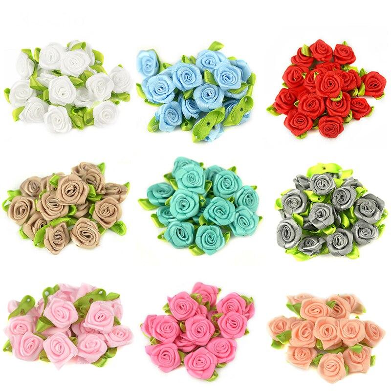 50pcs/lot 2CM Artificial Silk Mini Rose Flower Heads Make Satin Ribbon Handmade DIY Craft Scrapbooking For Wedding Decoration