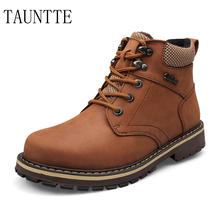 Tauntte Pig Size Winter Keep Warm Work Boots Men Genuine Leather Motorcycle Boots Fashion Plush Ankle Boots