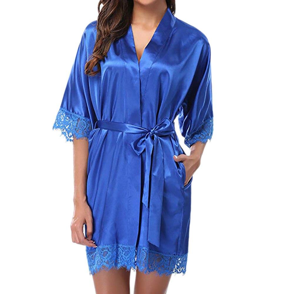 2020 Sleepwear Women's Lady Bathrobe Sexy Lace Sleepwear Satin Nightwear Lingerie Pajamas Suit Ropa Mujer Invierno  Lace Kimono
